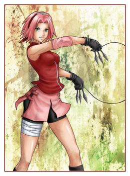 Sakura practising on Coloring by icha-icha