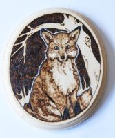 Pyrography Fox Wall Plaque by BumbleBeeFairy