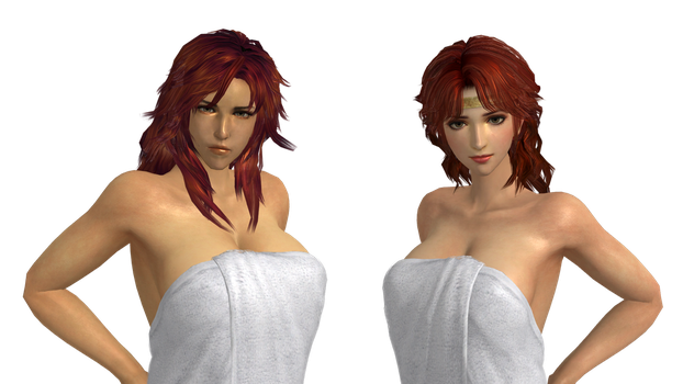 Hokuto Musou - Mamiya and Rin (Towel and Nude Mod) by hes6789