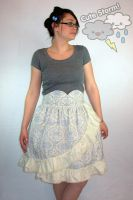 Layered Blue and Cream Damask Skirt by The-Cute-Storm