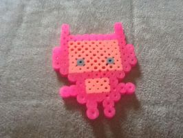 Kawaii robot perler bead pink by Pokekid6