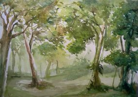 Watercolor - forest by Zeon1309