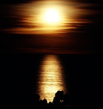 Moonrise over Lake Titicaca by GothicaDollParts