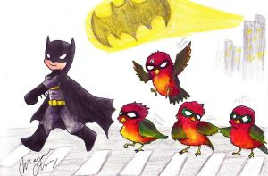 Batman, Robin, Robin, Robin, and Robin by Ensatsu-Kokuryuha