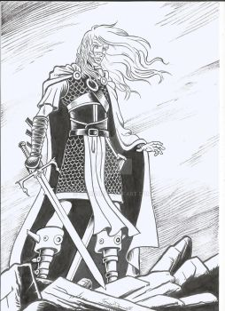 Elric of Melnibone ink and dry brush. by ga-ren