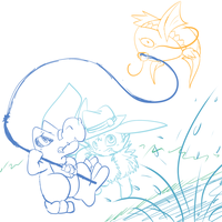 Doodle Practice: Eneki and Kylian Fishing by LunarousCrescent