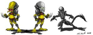 Predators and Alien by Maxnethaal
