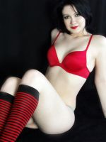 Red Bra Red-striped Knee-Highs by Snapfoto