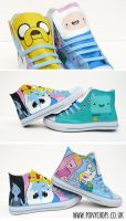 Jake the dog and Finn the human High Tops by ponychops