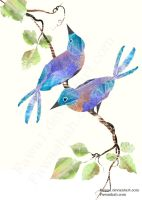 Two Blue Birds by Fawa1