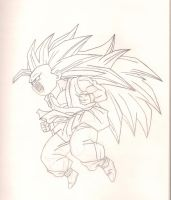 Kid Goku Super Saiyan 3 - Line Work by michalecr