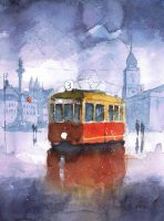 A tram on castle square by sanderus