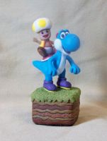 Yellow Toad On A Blue Yoshi by superclayartist