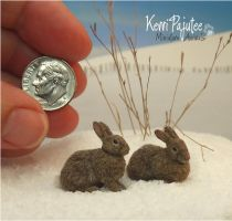 Miniature 1:12 Cottontail rabbit sculptures by Pajutee