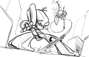 The Amazing Spider-man vs. The Crimson Fly sketch by SkipperWing