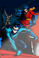 Batman, Robin and Nightwing Colored by PhillieCheesie