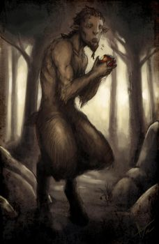 Faun eating apple COLOR by troubadour93
