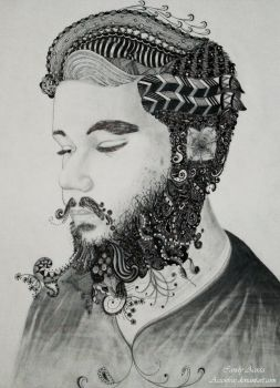 My One and Only Beloved: Zentangle Portrait by Aizenfree