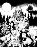 werewolf  and vampirella by mrfussion