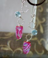 Dichro Glass Blue Topaz Earrings by CrysallisCreations