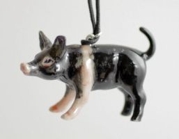 Black Pig Christmas Ornament by MonsterBrandCrafts