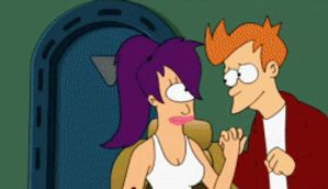 FRY AND LEELA KISSING GIF 8D by Fry-plus-Leela-4-eva