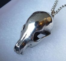 Baby Coyote Skull in Pewter by thepewterwolf