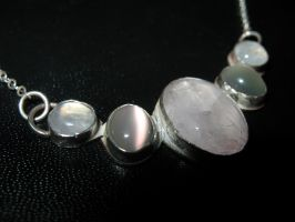 Moonstone and Quartz Necklace by flamingfish