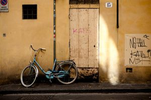 Blue bike on Florentine wall by Andross01