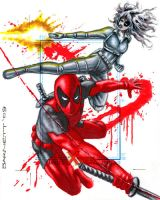 Deadpool and Domino by artguyNJ
