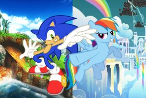 Rainbow Dash and Sonic the Hedgehog by Paris7500