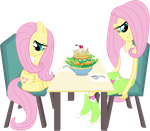 Two Fluttershies, One Salad by masemj