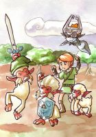 Link and the monkeys by Gigei