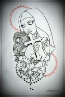 TATTOOED ZOMBIE NUN tattoo design OUTLINE by oldSkullLovebyMW