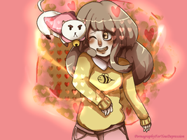 A girl and her special  cat. by Porno4UDepression