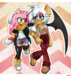 Amy and Rouge by moriomii
