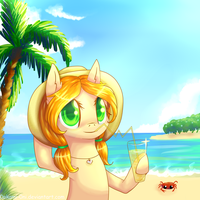 Leify on the beach + freeline by 0okami-0ni