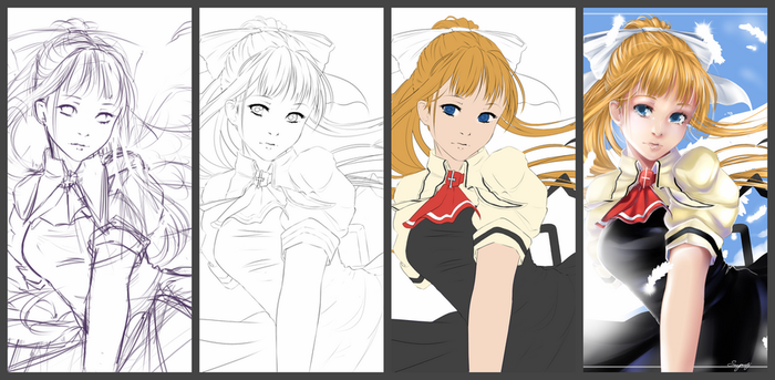 Air Misuzu progress on a drawing by Snegovsky