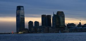 Jersey City Skyline at Sunset by ChrisBeckerArt