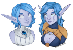 Zaneria and Elluriah busts by AvannTeth