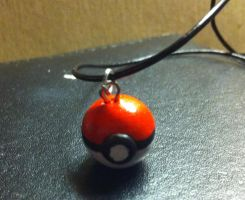 Pokeball Charm Necklace by SapphireIceAngel