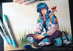 Aoba Playing Gameboy - Copic Version by Laovaan