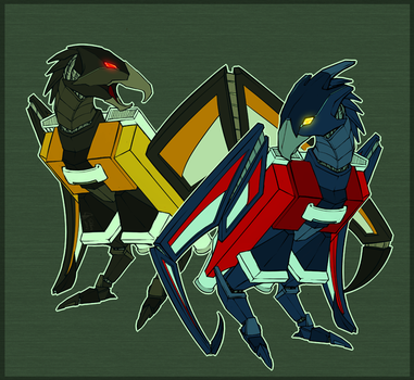 Laserbeak and Buzzsaw by shibara-draws-mecha