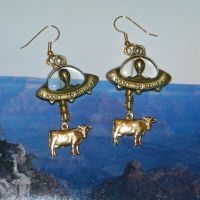 Alien Abduction of Cows Earrings by Alien-Abduction
