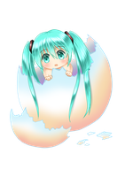 Miku in egg by Villyane