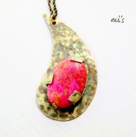 Paisley Pendant with Raspberry and Yellow Jade by IoannaEvans