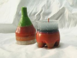 Bottle and Cup multi-colored Candles by Barah-Art