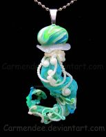 green blue jellyfish pendant by carmendee