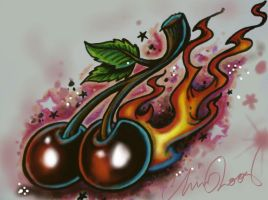 flamin Cherries by chrisxart