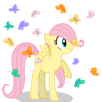 Filly Fluttershy with some Butterflies by Blanishna
